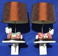 Pair Antique/Vtg Chinese Asian Figural Boy Girl Porcelain Table Wall Lamps #5425