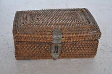 Old Bamboo Stick Woven Unique Handcrafted Fine Basket , Collectible