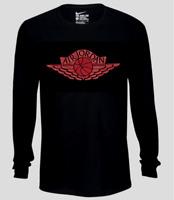 Nike Long Sleeve Shirt T Shirt Mens Medium Black with Red Air Jordan Wings Tee