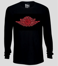 Nike Long Sleeve Shirt T Shirt Mens 4XL Black with Red New Air Jordan Wings Tee