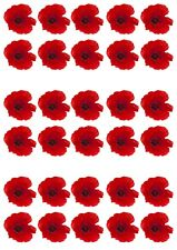 30 Remembrance Day Red Poppy Flower Edible Wafer Paper Cupcake Toppers