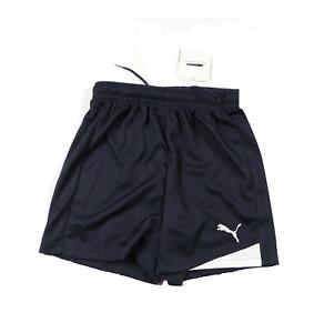 New Puma Youth Medium Stitched Logo Running Jogging Soccer Shorts Navy Blue