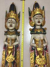 """Pair of Welcoming Rama Figures 67"""" Handcarved Wood Indonesia Bali Hindu treasure"""