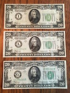 1934 $20 US FEDERAL RESERVE NOTE LOT - 1934, 1934 A &,1934 B - NICE DETAIL