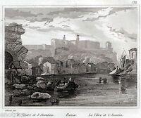 Roma: il Tevere e l'Aventino. Audot. Acciaio.Steel engraving.+ Passepartout.1836