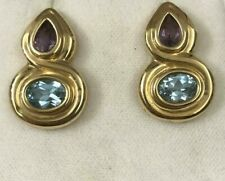Vintage 14k Yellow Gold Amethyst and Blue Topaz Drop Earrings
