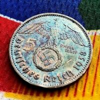 1938 A 5 Mark German WW2 Silver Coin Third Reich Swastika Reichsmark