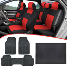 Universal Car Seat Covers + Heavy Duty Rubber Floor Mats + Cargo Liner Red Black