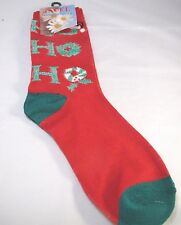 Christmas Red Green Crew Socks Womens 9-11 Ho Ho Ho Sparkle Holiday Festive