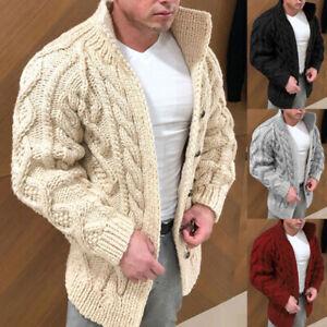 Winter Men Casual Warm Knitted Sweater Coat Long Sleeve Outwear Jacket Cardigan