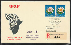 A-22) beautiful FFC / First Flight 1965 SAS  Zurich to Kampala ( Uganda)