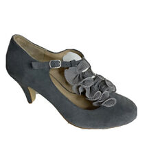 Clarks Women's Ladies Suede T-Strap Ruffle Heels Shoes Grey Sz UK 5 EU 38