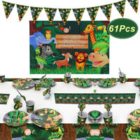 Baby Birthday Jungle Safari Canvas Banner Plates Cups Table Cover Party