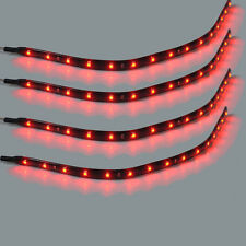 4PCS Red Waterproof 12'' DC 12V LED Strip Underbody Light For Vehicle Car