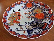 Antique Japanese Imari Porcelain Bowl Charger Plate Women Kimono's Rickshaw sign