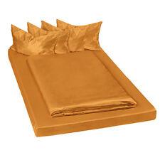 Juego ropa de cama satinada poliéster sábana bajera edredón funda 200x150 marrón