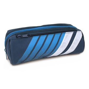 Large Sporty Blue Pencil Case Pouch with Reflective Strips for Boys Teenagers