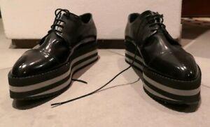 Scarpe donna stringate vera pelle vitello spazzolato plateau Shoe Gar 38