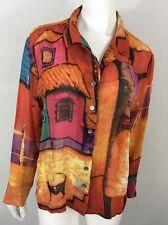 Chicos Design 2 Blouse Silk Chiffon Womens L 12/14 Spanish Villa Wearable Art