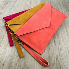 Salmon Wedding Clutch Bag Evening Bag Oversize Envelope Suede Prom Made in Italy