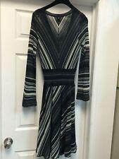 Missoni Blue Gray Knee-length Zig-Zag Dress Long Sleeves SZ M Semi-full Skirt