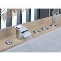 Tub Deck-Mount Shower Faucet Waterfall Widespread Roman Tub Filler in Chrome