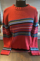 Tommy Hilfiger Large Women's Knit Sweater Red with Stripes