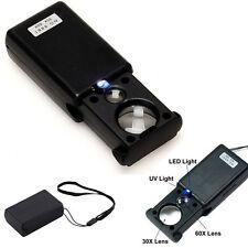 Pro Mini 30X 60X  Illuminated Magnifier Jewelers Loupe Lens Glass LED UV Lights