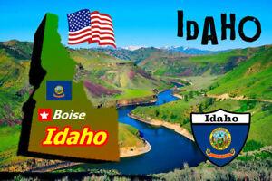 Idaho,USA Carte / Drapeau- Souvenir Nouveauté Réfrigérateur Aimant - Sights /