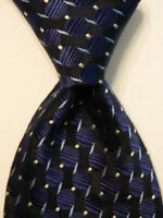 BARCELINO Men's 100% Silk Necktie ITALY Designer Geometric Blue/Black/Gray EUC