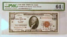 1929 $10 FRBN ST LOUIS FR#1860-H PMG64 EPQ CHOICE UNC S#0942A pp J