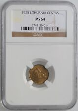 """Lithuania 1 centas 1925, NGC MS64, """"First Republic (1925 - 1938)"""""""