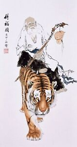 100% ORIENTAL ASIA FINE ART CHINESE FIGURE WATERCOLOR PAINTING-Dharma&Tiger King