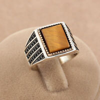 Tiger's Eye Stone 925 Sterling Silver Handmade Statement Turkish Men's Ring