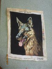 """COMPLETED Royal Paris GERMAN SHEPHERD HEAD NEEDLEPOINT Tapestry - 14 1/4"""" x 19"""""""