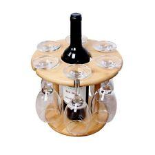 Wine Bottle Glass Holder Bamboo Tabletop Wine Drying Racks Camping For 6 Glass