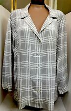 Mayda Cisneros Blouse Gray And White Size 18