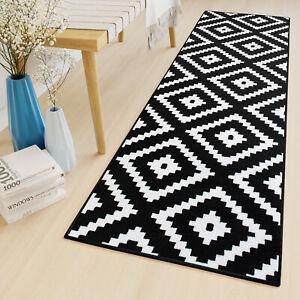Black & White Geometric Rug Living Room Rugs Long Hallway Runner Non-Shed Mat
