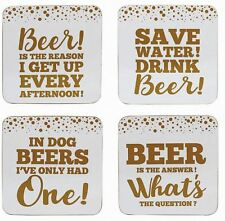 Gold Edition Beer Coasters Set of 4