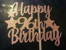 Happy 96th Birthday Cake Topper With Stars ROSE GOLD Glitter - FREE UK P&P