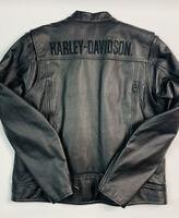 Harley Davidson Mens Large Embroidered Stitched Leather Jacket Liner Black