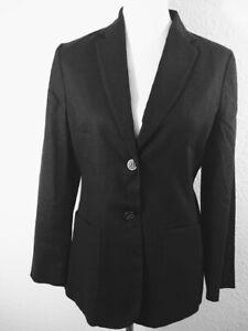 Vintage Banana Republic Blazer Jacket Women Sz 8 Black Linen Blend Career Italy