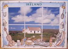 Irish Postcard THATCHED COTTAGE Ireland Music Bodhran Illus John Hinde 2/GL41