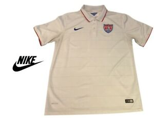 Nike Soccer Jersey Dri-Fit White Polo T-Shirt Youth XL US SOCCER 2014 Authentic