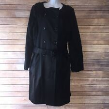 Talbots Women's Long Jacket Trench Coat Double Breasted Black Sz 16 Silk Satin