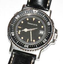 Vintage Men's Tiffany & Co 39mm Dive Wrist Watch Model M0719 Leather Band!