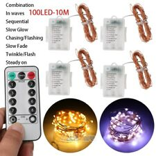 4Packs 10M 100 LED Battery Micro Rice Wire Copper Fairy String Lights w/ Remote