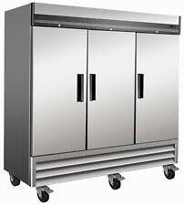 """New Commercial 3 Triple Door Reach In Refrigerator Cooler 72 Cu Ft 81"""" Wide"""