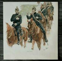 HO4) Farb Holzschnitt 1885-1900 C Becker - Cigarre gefällig Pickelhaube Artiller