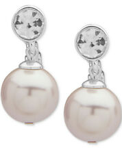Pearl Ez Comfort Clip Earrings A7e $32 Ralph Lauren Bezel Crystal Blush Faux